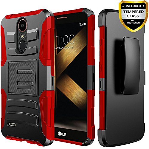 LG Premier Pro LTE Case, LG K30 Phone Cases, LG K10 2018 Case, Circlemalls [Combo Holster] and Built-in Kickstand Bundled and [Temerped Glass Screen Protector] with Belt Clip and Stylus Pen (Red)