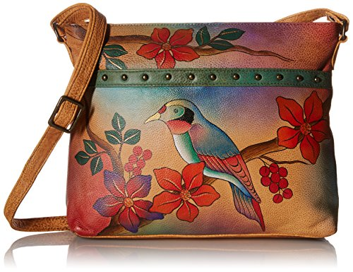 Anuschka Anna by Handpainted Leather Medium Organizer Body, Bird on Branch