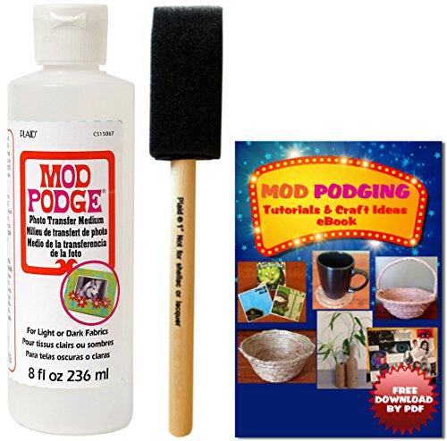 Mod Podge Photo Transfer Medium (8 oz) + Brush + Free Downloadable (Mod Podge Ideas)