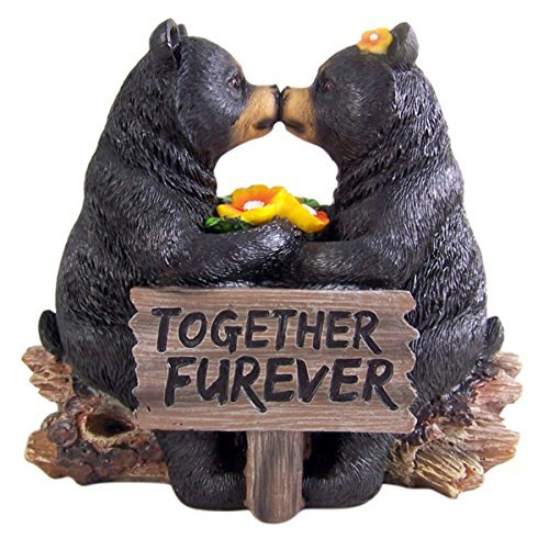 Romantic Black Bear Couple In Courtship By Wooden Log Statue 7