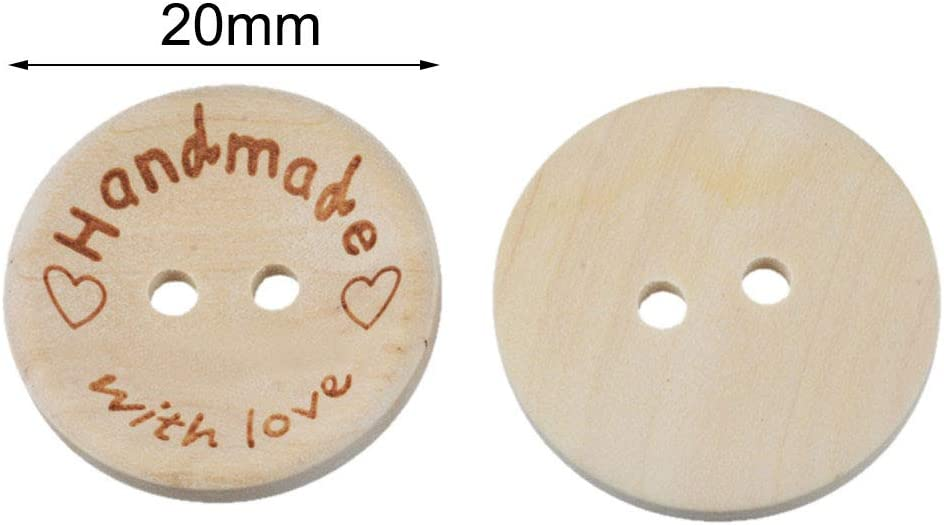 DIY Crafting Projects Decorations 20mm NUOMI 100Pcs Cute Wooden Craft Buttons 2 Holes Handmade with Love Tags Labels for Sewing Clothing Accessories