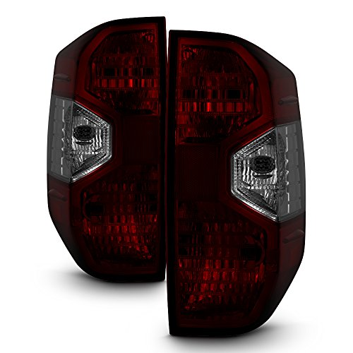 For 2014 2015 2016 2017 Toyota Tundra Factory Style Red Smoked Pair Tail Lights Brake Lamps Set