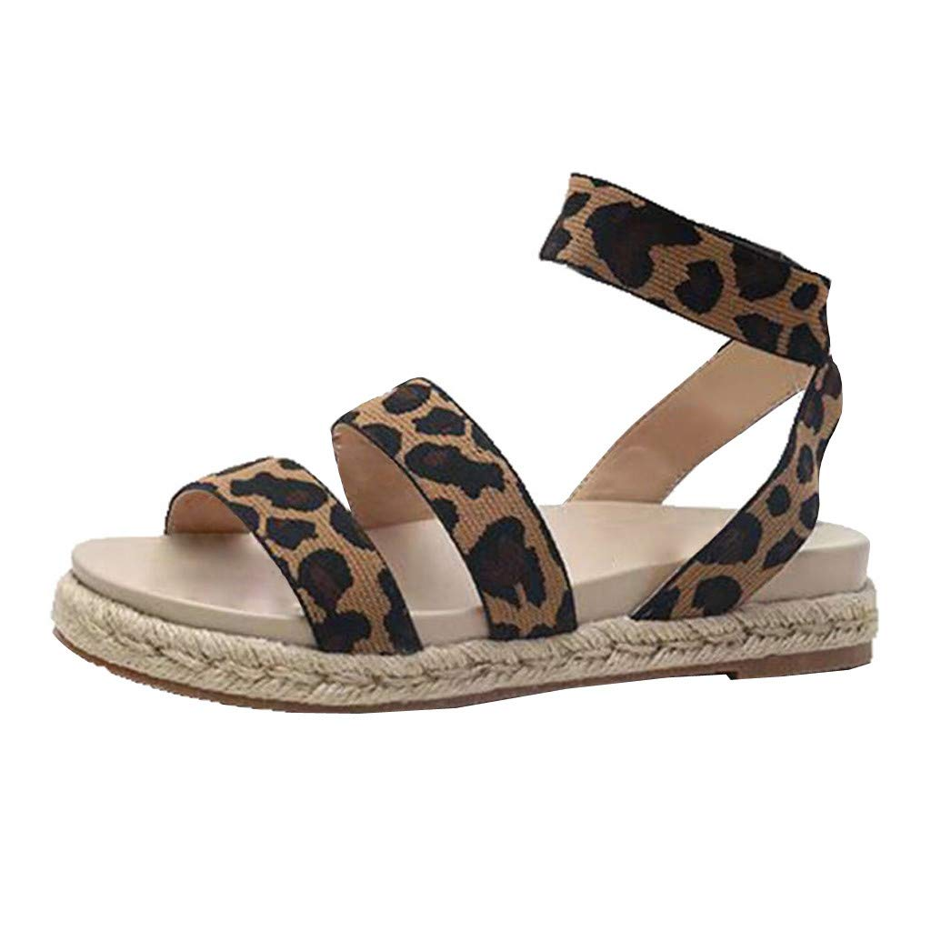 e0472e76f9 Copercn Women's Ladies Classic Leopard Grain Straw Woven Midsole Double  Bands Open Toe Soft Insole Elastic Wide Ankle Strap Thick Bottom Flat  Sandals Summer ...