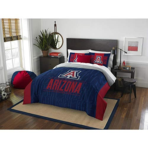 3pc NCAA University Arizona Wildcats Comforter Full Queen Set, Blue, Fan Merchandise, Team Spirit, College Basket Ball Themed, Sports Patterned Bedding, Red, Team Logo