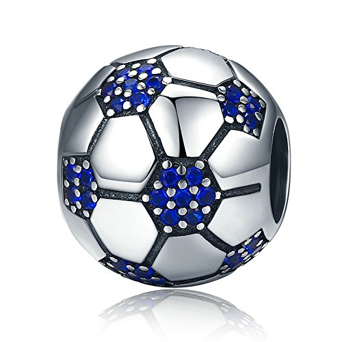 The Kiss Sports Soccer Football Tennis Baseball Baseball Sterling Silver Bead Fits European Charm Bracelet (Football Soccer Lover) ()