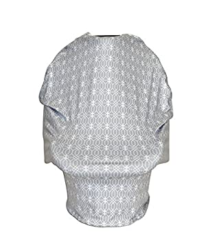 Polly Jane Grey Geometric Car Seat Cover Canopy, Nursing Cover, Shopping Cart and High Chair Cover, Stretchy Multi Use 3 in 1 Cover