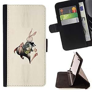 """Bright-Giant (Conejito Conejo Orejas Largas Blanca arte del cuento"""") Modelo Colorido Cuero Carpeta Tirón Caso Cubierta Piel Holster Funda Protección Para Apple (4.7 inches!!!) iPhone 6 / 6S"""