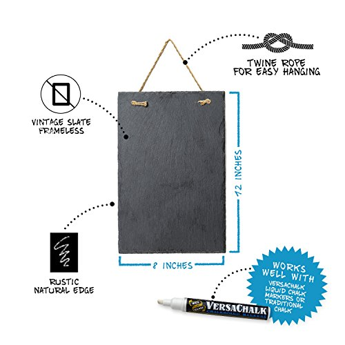 Vintage Frameless Slate Chalkboard Sign (8''x12'') - Decorative Hanging Chalk Board for Rustic Wedding Signs, Kitchen Pantry & Wall Decor by VersaChalk (Image #1)
