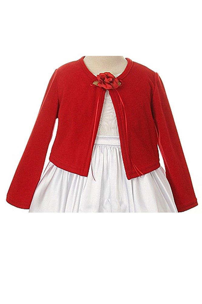 Basic Knit Special Occasion Girl's Cardigan Jacket Sweater - Red Girl 3/4
