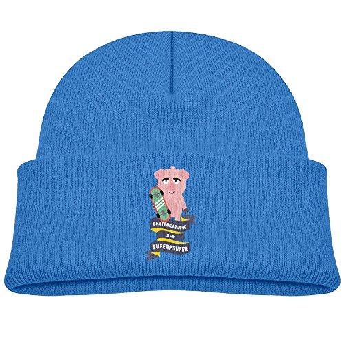 (Kocvbng I Beanie Cap Skateboarding My Superpower Fleece Knit Hats Baby Girls RoyalBlue)
