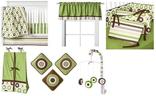 Mod Dots/Stripes Green/choco 10 PC Crib ()