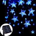 Semilits Solar String Lights Outdoor Waterproof 30ft 50 Led Star Shaped Twinkle Fairy Lights For Christmas Wedding Party Wind Chimes Ambiance Hang Lights Blue
