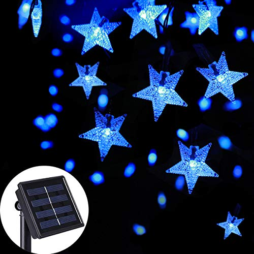 SEMILITS Solar String Lights Outdoor - Waterproof 30ft 50 LED Star Shaped Twinkle Fairy Lights for Christmas Wedding Party Wind Chimes Ambiance Hang Lights (Blue) (30' String)