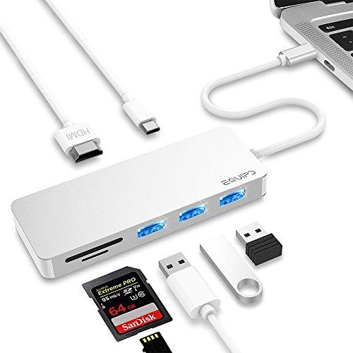 USB C Hub, EQUIPD 7 in 1 Aluminum Type C Adapter with USB C Charging Port, 4K HDMI Output, 1 USB 3.0/2 USB 2.0 Ports, SD/microSD Card Reader for New iPad Pro, MacBook Air,MacBook Pro and More - Silver from EQUIPD