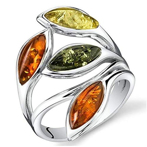 Naomi Amber Leaf Ring Silver Cherry Olive Honey Cognac Colors Sizes 5-12 Multi-Color 9