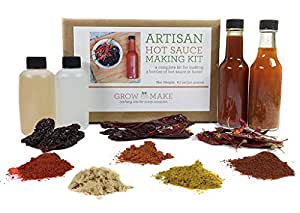 Grow and Make: Artisan DIY Gourmet Hot Sauce Kit, Makes 3 Unique Sauces