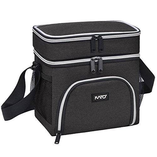Kato Insulated Lunch Bag, Leakproof Bento Cooler Lunch Box Tote, Dual Compartment Thermal Lunch Bag with Shoulder Strap for Men & Women, Oxford Cloth, Black