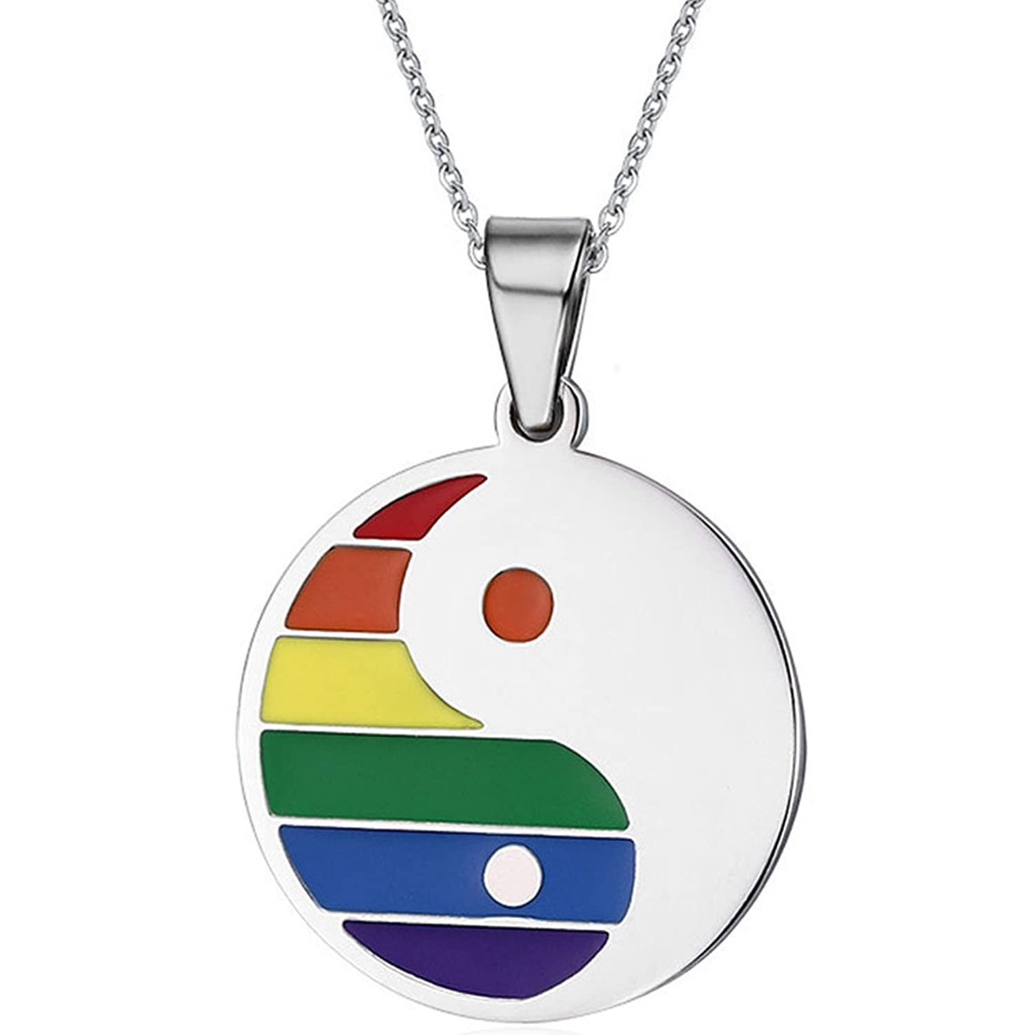 Stainless Steel Rainbow Eight Trigrams Yin and Yang - Gay & Lesbian LGBT Pride Steel Necklace