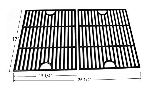 BBQ funland GI1192 Porcelain Coated Cast Iron Cooking Grid Replacement for Select Gas Grill Models by Kenmore, Uniflame and Others, Set of 2