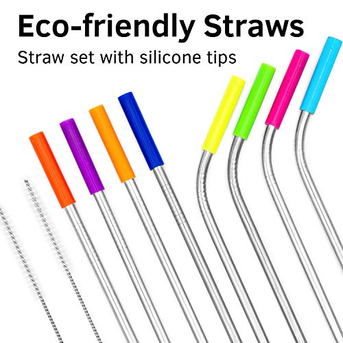 Stainless Steel Straw Set with Silicone Tips 8 straw 2 cleaning brush - Drinking Straws Set for Tumblers - Reusable Metal Straws Cups Mug - Extra Long 10.5 - Reusable Steel Straws 4 straight 4 bended