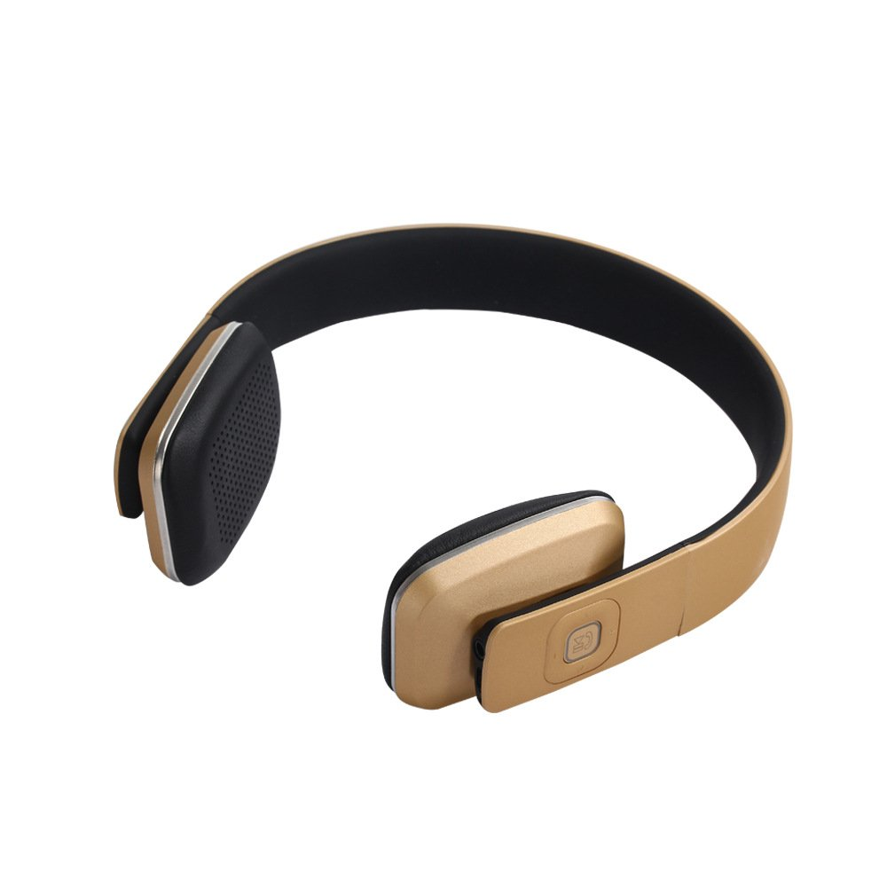 ワイヤレスヘッドホン V4.1 Bluetoothヘッドフォン 折りたたみ式 クリアサウンド ハンズフリー ブラック ゴールド B0791M9WNG ゴールド