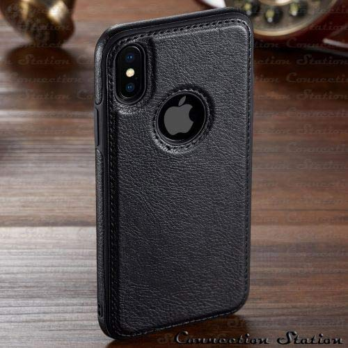 GOOGEE Fitted Cases - for iPhone Xs Max Xr Case Luxury Vintage Leather Back Ultra Thin Case Cover for iPhone X 8 7 6 6s Plus Case - for iPhone Xs MAX_Black - Belts On Prime Wallet Coach Brand