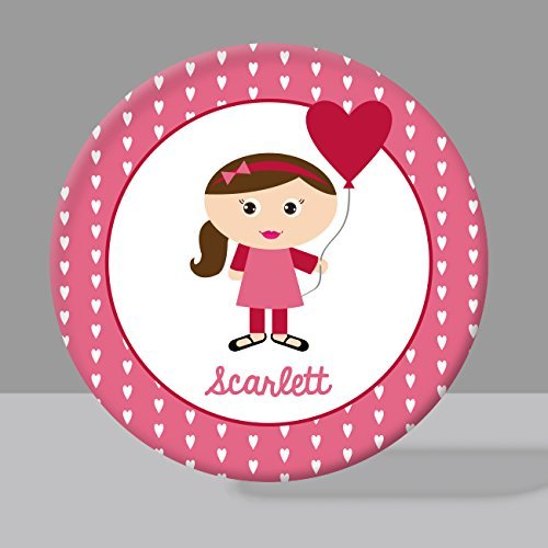 Girls Personalized Bowl (Valentine Girl 3 Melamine Bowl or Plate Custom Personalized with Childs Name)
