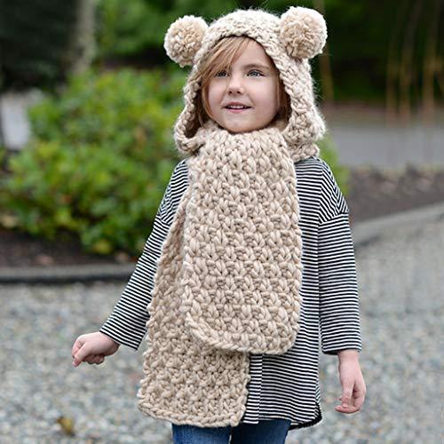 Hood Scarf Beanies Kids - Girls Winter Hats Ear Flaps Knit Cap Snow Neck Warmer by Liny (Image #2)