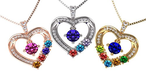 "Central Diamond Center Nana Mother & Child Heart Pendant/Necklace 1-6 Stones w/1mm 22"" Adj. Box Chain -Silver Platinum Plated"