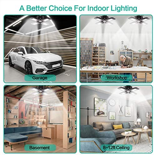 2 - Pack LED Garage Lights 80W - 6000K Garage Lights Ceiling LED, 12000LM Deformable LED Garage Lighting Fixture, Shop Lights for Garage, Basement, Barn, High Bay Light