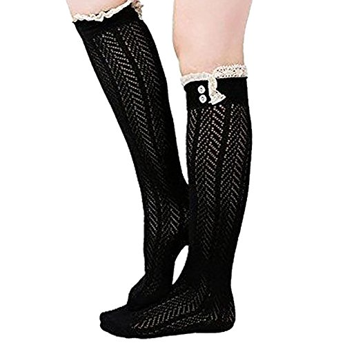 Lace Boot Socks Knee High Socks Ruffled Lace Trim & Buttons Leg Warmers for Boots (Black) Button Trim Boot