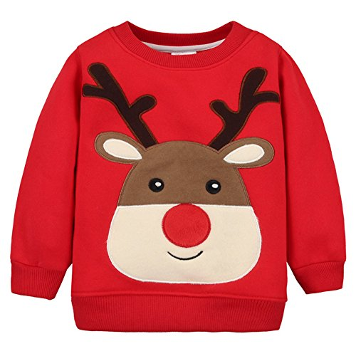 Baby Toddler Girl Christmas Sweater Cotton Pullover Sweatshirt red Deer 12M (Sweaters Christmas Infant)