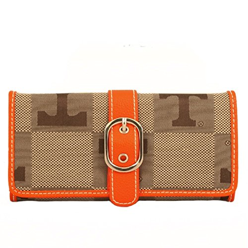 Sandol Tennessee Volunteers Leather and Jacquard Fabric Ladies Marlo Wallet -