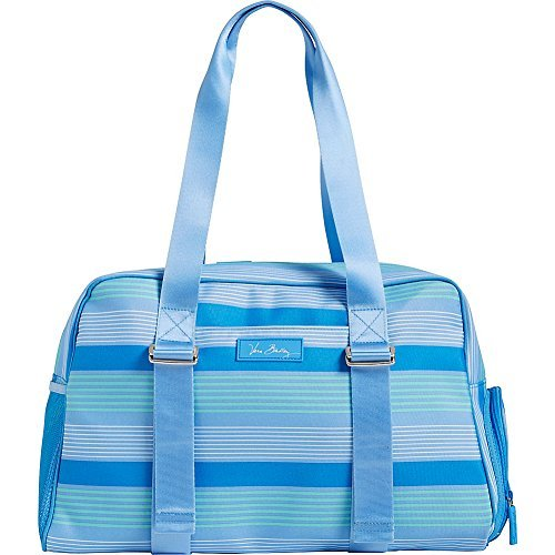 Vera Bradley Luggage Women's Lighten Up Yoga Sport Bag Blue Tonal Stripe Duffel Bag