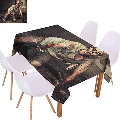 Wrinkle Resistant Tablecloth Zombie Halloween Scary Dead Man in The Old Building with Bloody Head Nightmare Theme Soft and Smooth Surface W59 xL71 Grey Mint Peach