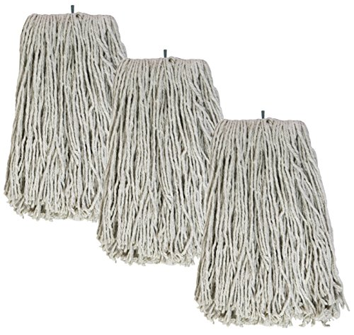 - Tricol 38480 Screw-Tip Wet Mop Replacement Heads, 16-Ounce, White, 3-Pack