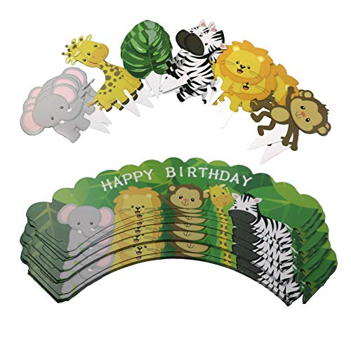 CC HOME Jungle Animal Party Decorations,Jungle Animal Cupcake Toppers/Picks & Forest Theme Cupcake Wrappers, Wild One Birthday Decorations for Hawaiian,Luau,Tropical,Spring ,Summer Party Decoration 24 Set