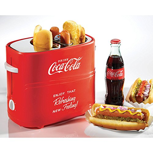 Nostalgia Coca-Cola Pop-Up Hot Dog Toaster with Mini Tongs For Removing Hot Dogs (1) by Nostalgia For Sale