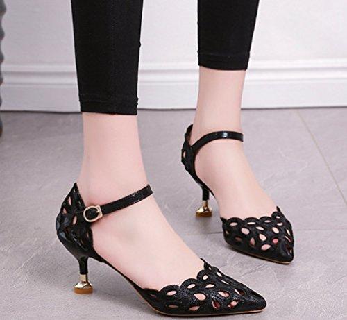 Sandales Creux Talons Coréenne Creux Mode Fine Chaussures Pointu XIAOQI à Nouvelles Boucle Chaussures Femmes De Noir avec Été qHBwAf