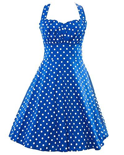 Halter 50s Rockabilly Retro Polka Dots Dress Vestidos Cóctel Fiesta Azul Claro