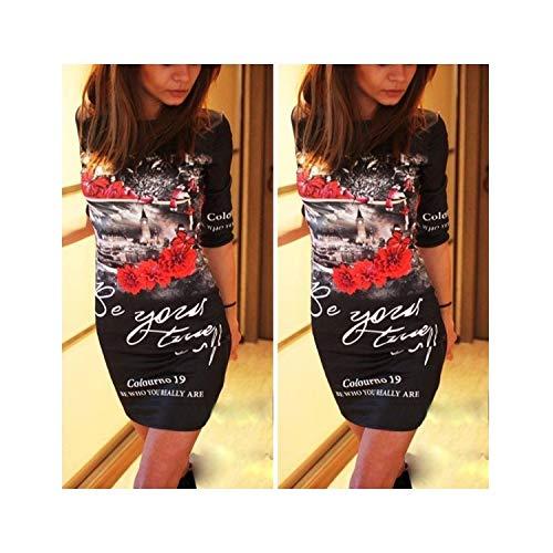 Fashion Casual Summer New Slim Dress Cartoon St Mini Package Hip Short Sleeve O-k Women T-Shirts Dress,2310 Black,XL ()