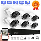 【Expandable 5MP NVR】SAFEVANT H.265 8CH 5MP PoE NVR Security Camera System, 6pcs 5MP(2592x1944P) Indoors /Outdoors PoE Security Cameras,100ft Night Vision,Pre-installed 3TB HDD,Free APP,Plug&Play
