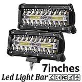 LED Light Bar,7 Inch 2PCS 240W LED Flood Light Pods Work Light Bar LED Pod Lights Spot Beam Driving Fog Lights Triple Row Cubes Lights for Jeep Off-road Truck Boat(7In-240w)