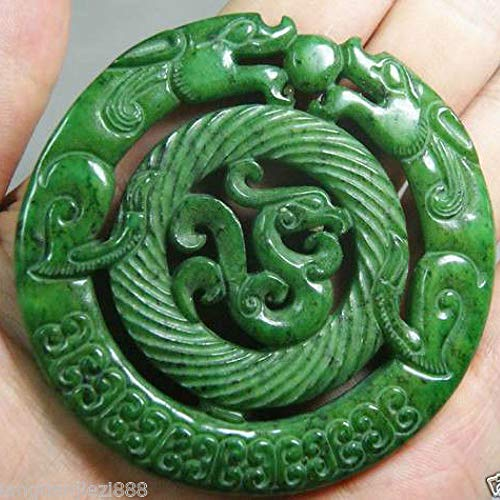 YOTATO Chinese Old Handwork Green Jade Carved Dragon Pendant A Statues -