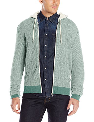 Threads 4 Thought Men's Flex Thermal Sherpa Lined Zip Hoodie, Evergreen, Medium (Evergreen Polyester Thread)