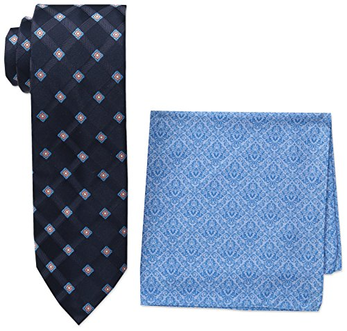 Steve Harvey Men's Satin Grid Necktie and Brocade Pocket Square, Navy, One Size (Mens Brocade)