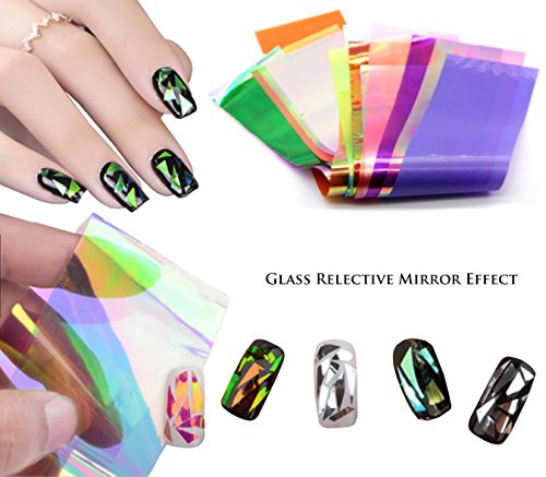 Beaute Galleria - 24pcs Mixed Colors Nail Art DIY Holographic Shattered Broken-Glass Reflective Mirror Shard Effect Rainbow Thin Iridescent Cellophane Films Foils Flakies by Beaute Galleria
