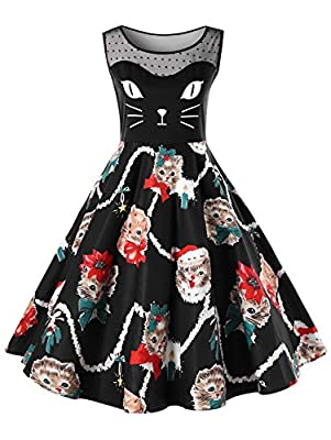 CHARMMA Women's Christmas Plus Size Sleeveless Illsion Neck Cat Print Party Dress