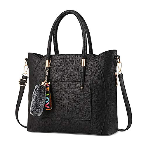 Women Solid Handbags Chains Furball Ribbons Satchels Purse Shoulder Bags,Color 5 ()