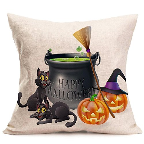 Pillowcases, Witspace Pillowcases 45x45CM Pillow Cases Happy Halloween Pillow Cases Linen Sofa Cushion Cover Home Decor Cushion Covers (Multicolor (Cool Halloween Sayings)